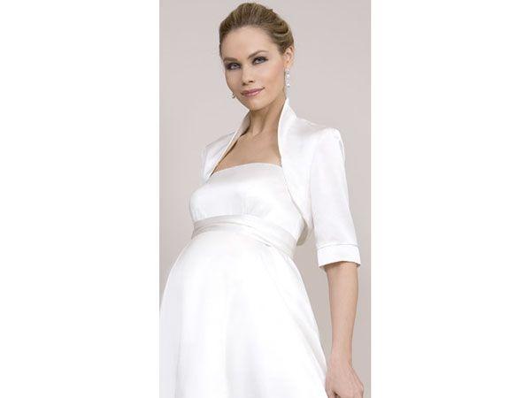 Vestido de novia para novia embarazada-bolero.Se recomienda para el primer trimestre del embarazo un estilo de vestido de novia embarazada de corte princesa, le dará forma al cuerpo de la novia embarazada y hará que luzca muy linda.