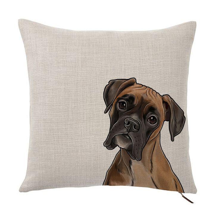"""American Boxer Color Portrait Design Cotton Linen Square Decorative Throw Pillow Case Cushion Cover 18"""" X 18"""""""