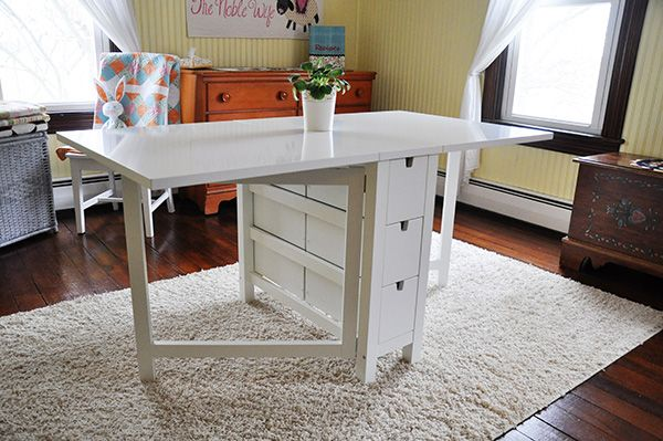 This gate-leg table from Ikea can have one side of the table up, or both, or neither. Good for crafting, games, or anything really. | Tiny Homes