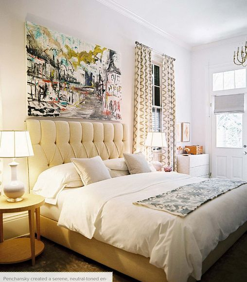 White walls - Love the headboard!  And, the yellow is bright and cheerful.  Not a yellow person but this room is beautiful!
