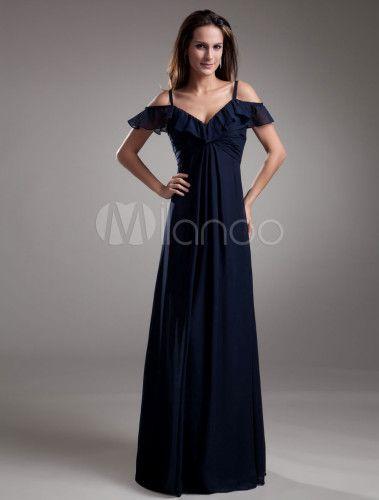 Abito da sera elegante increspato in chiffon blu marino con bretelle A-linea a terra - Milanoo.com