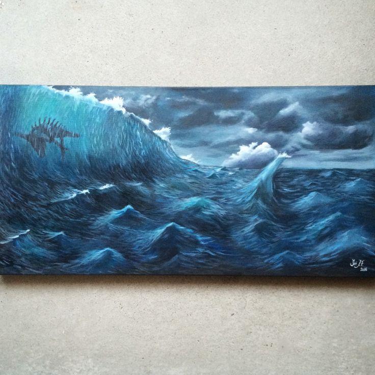 #sea #ocean #storm #waves #clouds #blue #grey #fish #monster #painting #myart #art   https://www.instagram.com/siri_jacobsen/