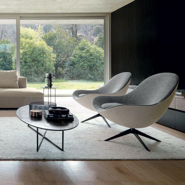 Moderner Sessel / Textil / Leder / Dreh SOOR by Jai Jalan  désirée