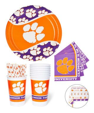 Clemson Tigers 61 Piece Party Dinnerware U0026 Tablecloth Set