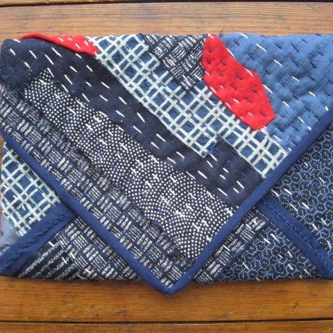 Boro stitching on handmade clutch bag.  See my store at www.madeit.com.au/HookandBobbin
