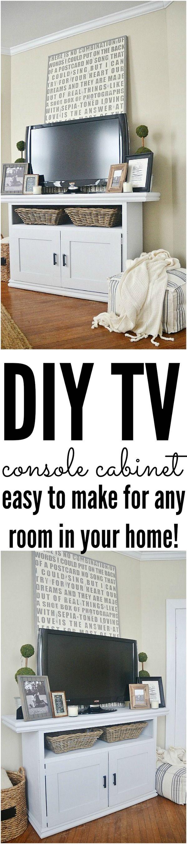 DIY TV console cabinet - easy to make for any room! - lizmarieblog.com