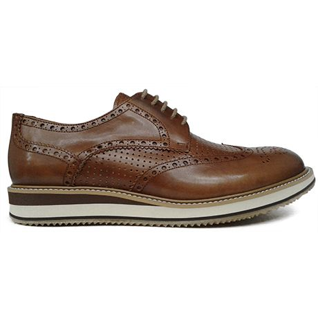 8285 zapato blucher pala vega con picado maría en color cuero de Pertini | Calzados Garrido