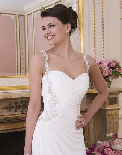 Gorgeous sweetheart neckline with beaded straps