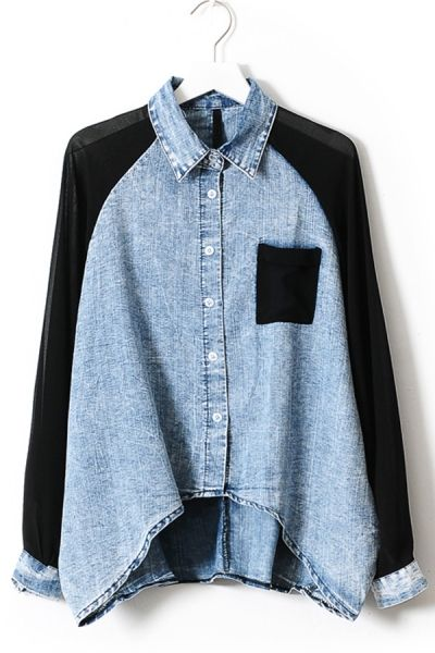 Chiffon Sleeve High-low Denim Shirt OASAP.com