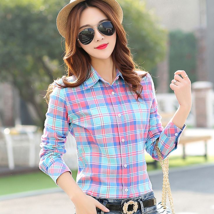 Women Shirt Blouses Plus Size 2016 Hot New Spring Flannel Cotton Long Sleeve Plaid Shirt Casual Female Loose College Wind Tops