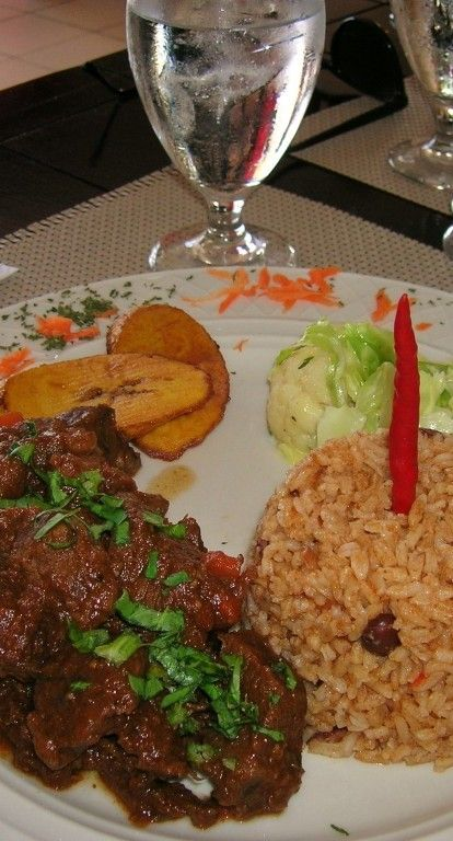 beef stew with traditional rice and beans - Aruba