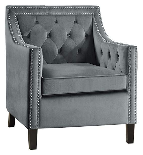 Amazon Com Lexicon Grazioso Velvet Accent Chair Gray Gateway