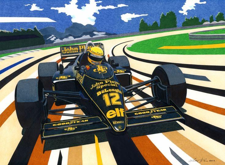 Ayrton Senna is driving the formidable 1200HP Lotus 98T, at the Jacarepagua circuit near Rio de Janeiro