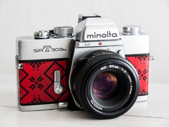 Minolta SRT303b - functional vintage 35mm film SLR camera with prime fast 50mm f2 lens, Neckstrap, Lens cap, Genuine Leather, New Lightseals