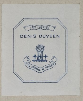 Denis Duveen (1910-1992) was a chemist & founder of the Duveen Soap Corp. He was an avid collector on the history of chemistry, & put together one of the greatest private libraries on the subject, a collection now housed at the University of Wisconsin-Madison. Duveen received the Dexter Award in 1960 for his numerous contributions to the history of chemistry with specific recognition for his bibliographical works.