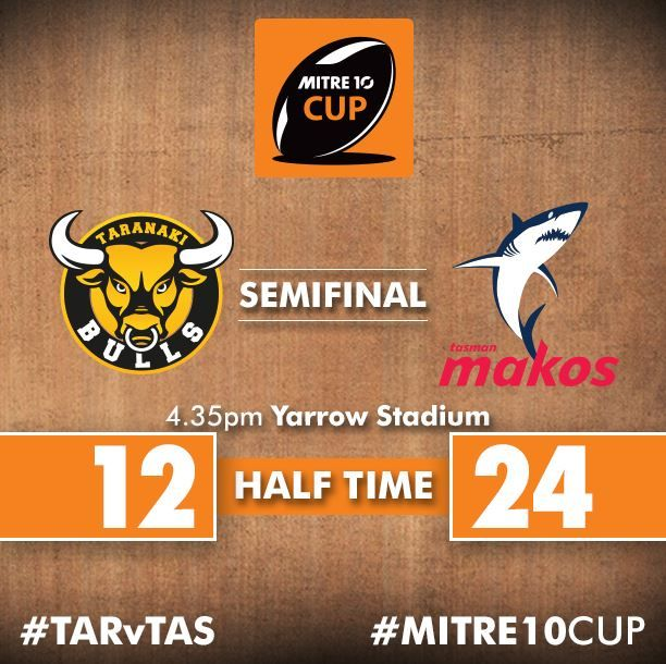 It's the visiting Tasman Makos who hold the 24 - 12 lead over Taranaki Rugby at the break. :( sad c'mon Bulls
