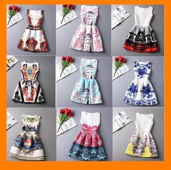 vestito donna corto sexy dress gonna senza maniche estivo mini abito con stampa | eBay