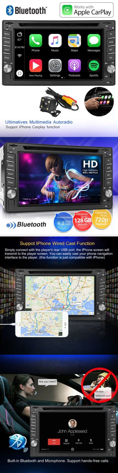 Video In-Dash Units w o GPS: 6.2 2Din Car Radio Apple Carplay Touch Screen Bluetooth Dvd Player For Iphone -> BUY IT NOW ONLY: $149.99 on eBay!