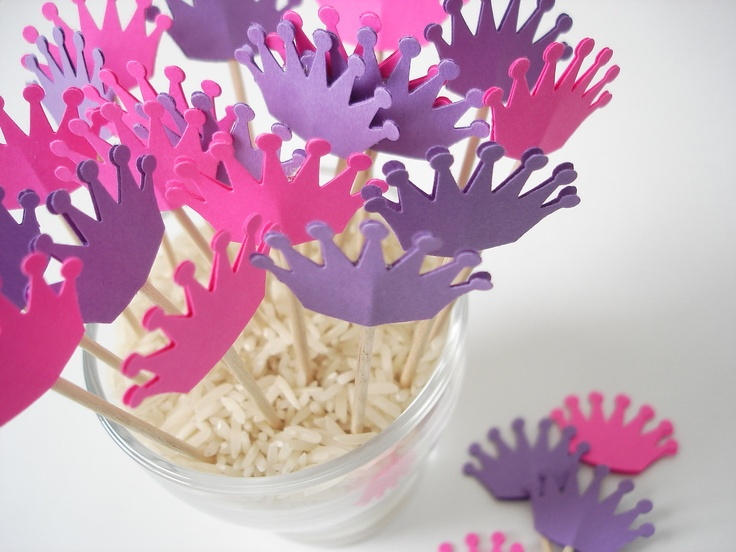 24 Decorative fushia purple princess crown toothpicks party picks food picks cupcake toppers