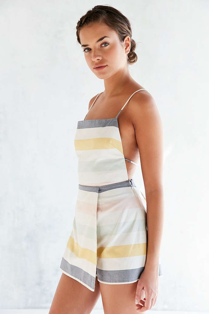 Cooperative Sherbet Striped Skort Romper - Urban Outfitters