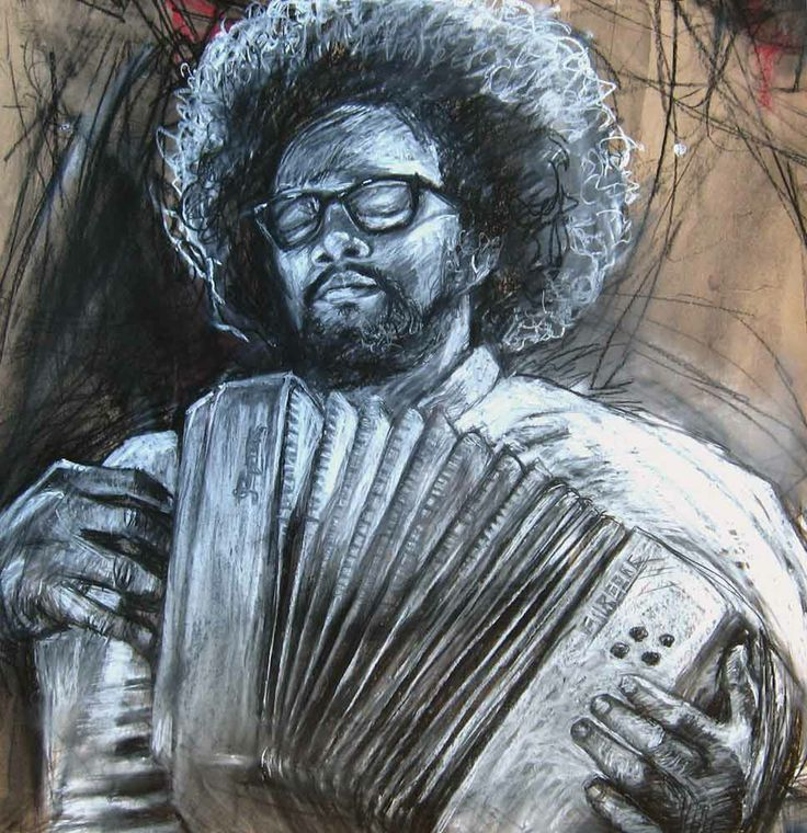 Fransman's Accordian by Gary Frier. Charcoal and chalk on card