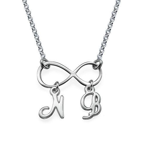 Infinity Ketting met Hangende Initialen in 925 Zilver | Mijnnaamketting