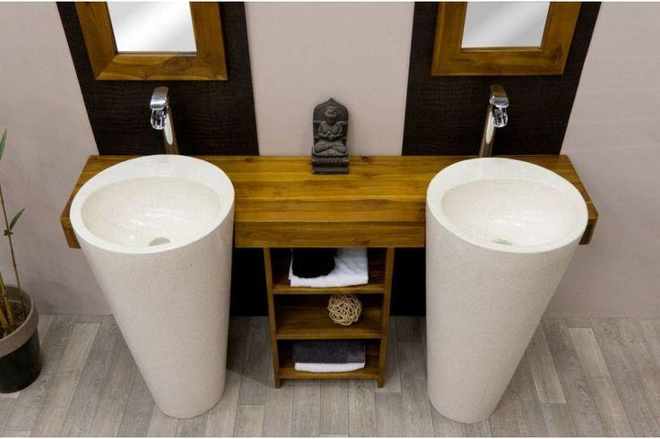 Meuble salle de bain Teck OSIRIS double, Meubles Salle de Bain en Teck
