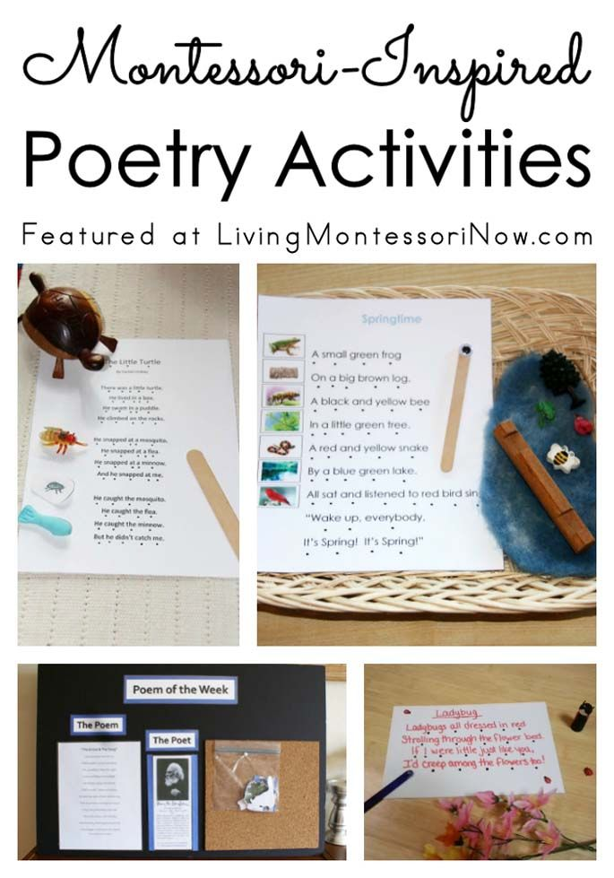 Roundup with lots of Montessori-inspired poetry activities for a poetry unit or for individual poetry activities at home or in the classroom.