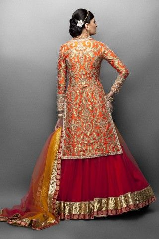 Orange and Red Lehenga paired with a Jacket