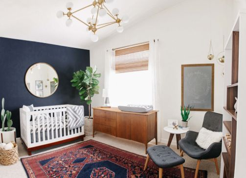 Alex Evjen Nursery Reveal design navy blue baby gold accents arizona remodel modern