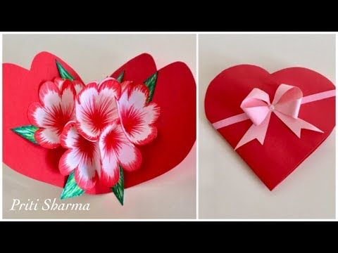 Diy 3d Paper Flower Pop Up Card Tutorial Handmade Heart Shape Card Priti Sharma Youtube Pop Up Flower Cards Flower Cards Paper Flowers