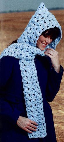 Maggie's Crochet · Hooded Scarves To Crochet  ༺✿ƬⱤღ http://www.pinterest.com/teretegui/✿༻
