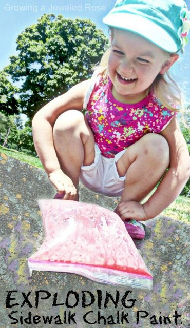 A new SUPER fun way to play with sidewalk chalk- make exploding chalk paint bags!  This activity is easy to set up, requires basic household ingredients, and was seriously way too fun! (exploding art for Summer)