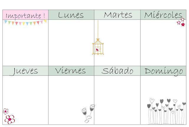 Planner, agenda semanal para imprimir en español.                                                                                                                                                                                 Más