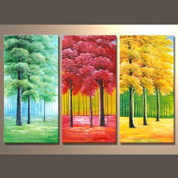 Quadro dipinto a mano su 3 tele con alberi