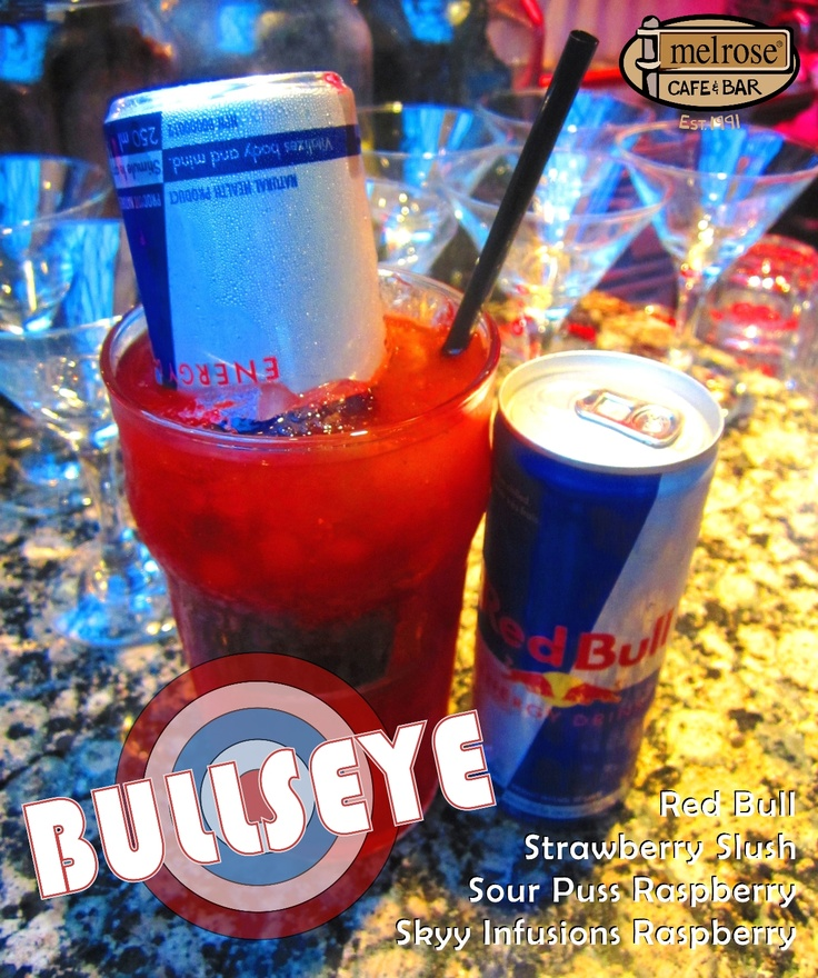 Had a long day? ;) This delicious cocktail is made with Skyy raspberry vodka, raspberry Sour Puss, strawberry slush, and a can of Red Bull to top it off