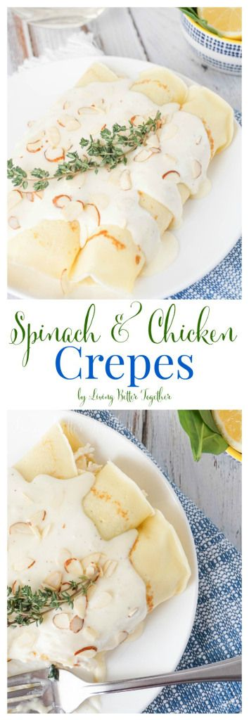 These Spinach & Chicken Crepes are soft and stuffed with lemon chicken, spinach, almonds, and ricotta and served under a thick and creamy white wine sauce.