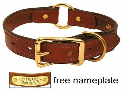 $22.95 This is the best collar.  The ring is perfect for hooking to a leash or tie out. The nameplate is far superior to tags. We have a few others from gundogsupply.com including a wonderful 8 dollar one as well.