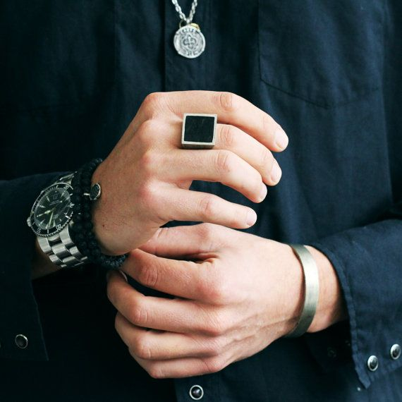 Black Ring Men Antique Matte Finish Unisex Jewelry Square Rings