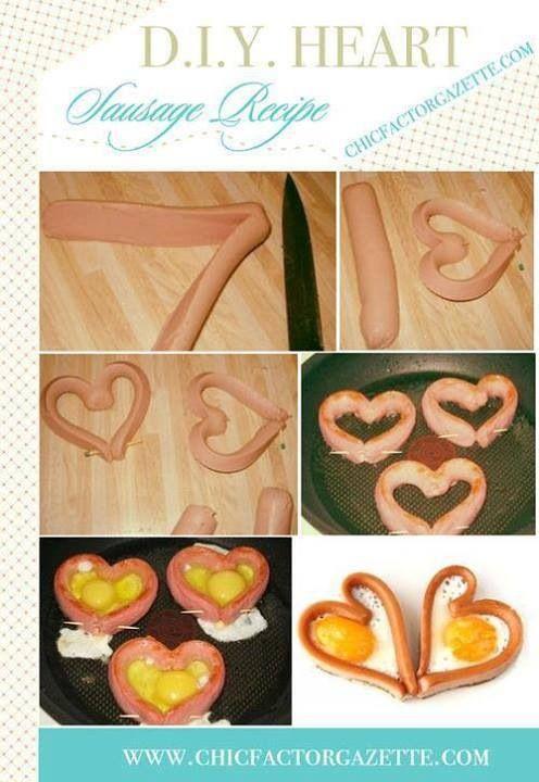Salchichas corazón con relleno de huevo