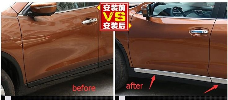 (58.74$)  Know more  - Accessories ! Stainless Steel Side Door Body Molding Cover Trim 4 Pcs For Nissan Rogue 2014 2015 / X-trail 2014 2015