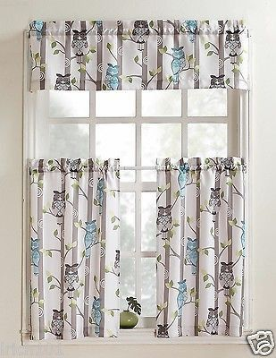 "Unique Multi-Colored 3 Piece Owl Printed Kitchen Curtain Set With Valance and 36""L Tiers"