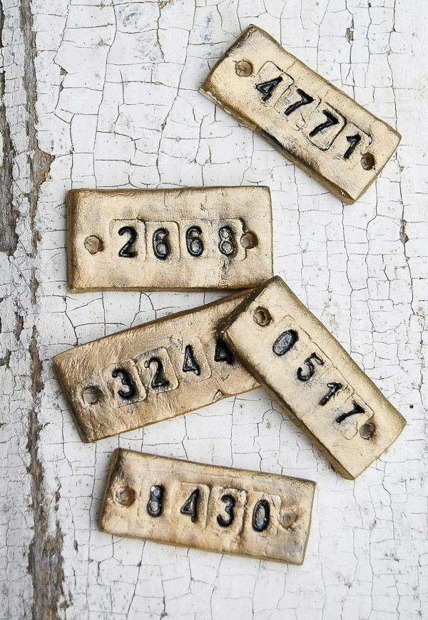 A step by step tutorial for making inexpensive vintage inspired locker tags using air-dry clay. - Littlehouseoffour.com
