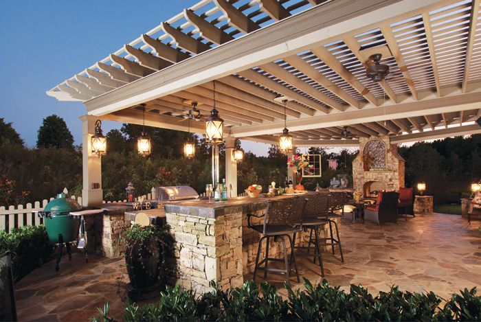 Large pergola over beautiful outdoor kitchen pergola for Outdoor kitchen pergola ideas