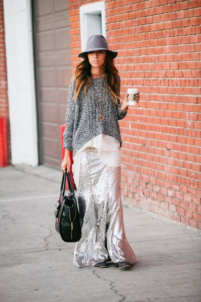 Chunky sweater over sequined maxi skirt