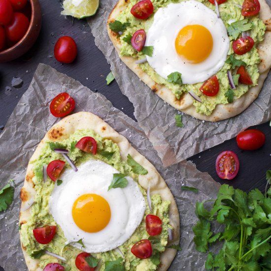 This simple breakfast pizza is easy! Topped with the ingredients for guacamole, but add your favorite toppings!