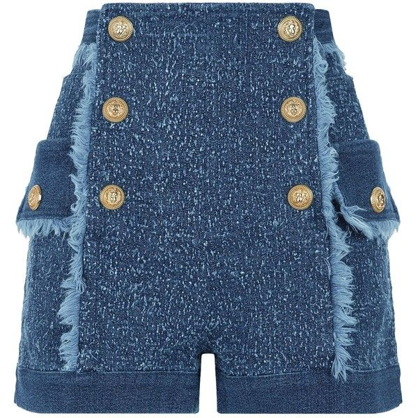 Balmain Deconstructed Denim Shorts ($2,330) ❤ liked on Polyvore featuring shorts, denim shorts, summer high waisted shorts, balmain, high rise shorts and tweed shorts