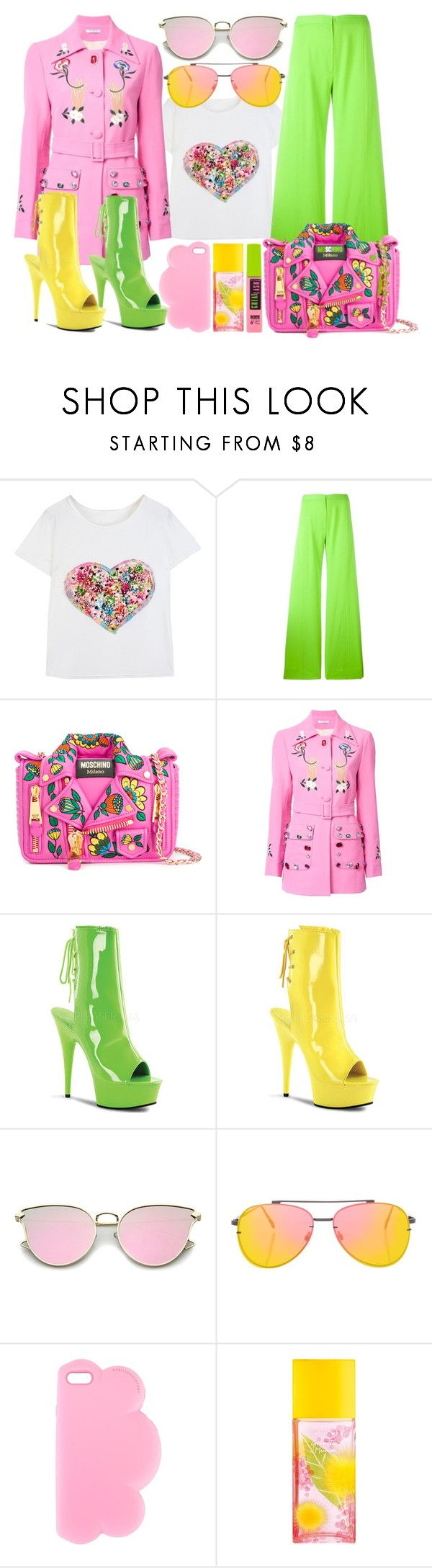 """""""Pink Chic"""" by sanya-styleup ❤ liked on Polyvore featuring Emanuel Ungaro, Moschino, VIVETTA, Pleaser, Topshop, STELLA McCARTNEY, Elizabeth Arden and Maybelline"""