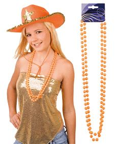 Oranje kralenketting. Oranje kettingen verpakt per 2 stuks. Leuke oranje kralenketting voor bij uw Koningsdag of oranje outfit.