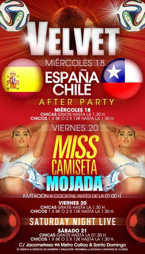 Viernes 20 de junio. ¡Como cada #Viernes Velvet Madrid viene con sorpresas! Hoy 'Miss Camiseta Mojada' ¿Te lo vas a perder? Más info: https://www.facebook.com/nightsurfing.madrid #Nightsurfing #Madrid